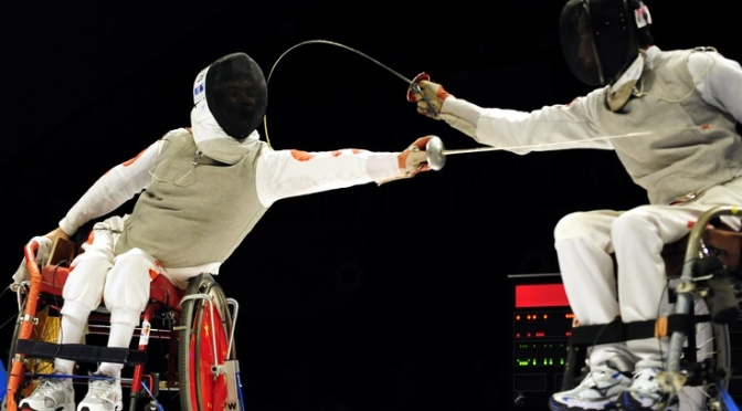 Wheelchair fencing. Photo courtesy of www.rollingraines.com wheelchair travel advocate.