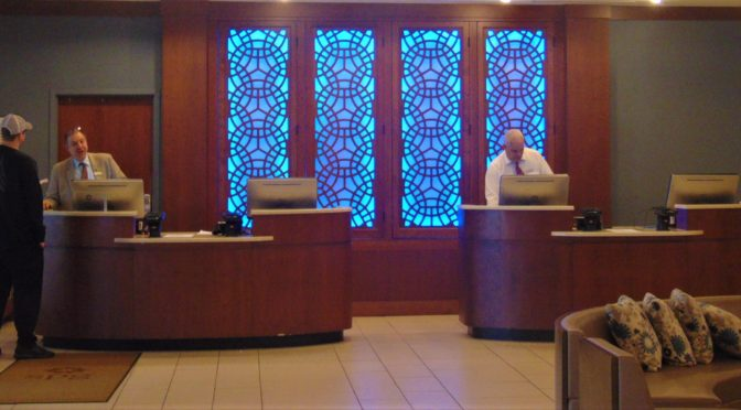 Accessible Hotel check-in counter at a Florida Resort-ADA Accessible Hotel